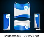 exhibition stands with blue... | Shutterstock .eps vector #394996705