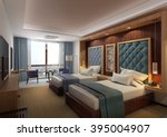 Stock photo hotel twin bed room 395004907