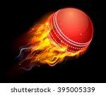 a flaming cricket ball on fire... | Shutterstock .eps vector #395005339