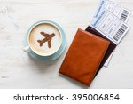 cup of coffee  passports and no ... | Shutterstock . vector #395006854
