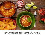 pozole with mote big corn stew... | Shutterstock . vector #395007751