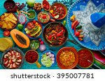 mexican food mix colorful... | Shutterstock . vector #395007781