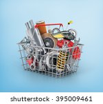 basket from a shop full of auto ... | Shutterstock . vector #395009461