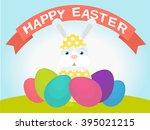 white easter rabbit. easter... | Shutterstock .eps vector #395021215