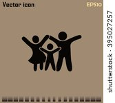 happy family icon in simple... | Shutterstock .eps vector #395027257