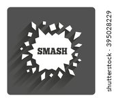 cracked hole icon. smash or...
