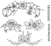 hand drawn ink floral ornament... | Shutterstock .eps vector #395029381