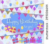 birthday card with balloons ... | Shutterstock .eps vector #395036644