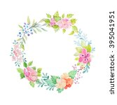 hand drawn watercolor flower... | Shutterstock . vector #395041951