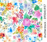 watercolor floral pattern | Shutterstock . vector #395041957