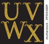 u  v  w  x golden glittering... | Shutterstock .eps vector #395043889