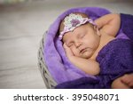 newborn infant girl sleeping in ... | Shutterstock . vector #395048071