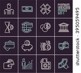 line money vector icons set... | Shutterstock .eps vector #395059495