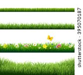 grass borders set with gradient ... | Shutterstock .eps vector #395070187