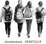 schoolgirls walking | Shutterstock .eps vector #395072119