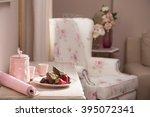peace of tasty banana cake on ...   Shutterstock . vector #395072341