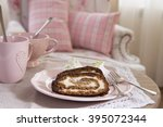 banana  cake and cup of tea  on ... | Shutterstock . vector #395072344