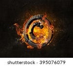copyright symbol burning in fire | Shutterstock . vector #395076079