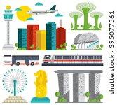 Set of Singapore Landmark icons | Shutterstock vector #395077561