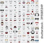 set of 90 cute doodle avatars... | Shutterstock .eps vector #395085349