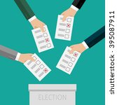 concept of voting. hands... | Shutterstock .eps vector #395087911