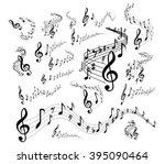 musical staves on white | Shutterstock .eps vector #395090464