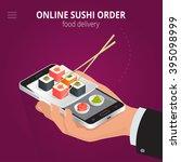 online sushi order. ecommerce... | Shutterstock .eps vector #395098999