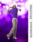 golf player in a purple shirt...   Shutterstock . vector #395129581