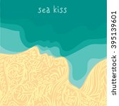 sea kiss. a man and a woman ... | Shutterstock .eps vector #395139601