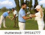 female golfer learning golfing  ...   Shutterstock . vector #395161777