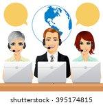 happy call center agents...   Shutterstock .eps vector #395174815