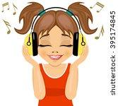 little cute girl enjoys... | Shutterstock .eps vector #395174845