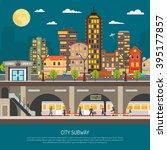 underground poster of cityscape ... | Shutterstock .eps vector #395177857