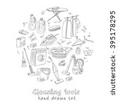 laundry themed doodle set.... | Shutterstock .eps vector #395178295