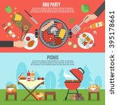bbq party horizontal banner set ... | Shutterstock .eps vector #395178661