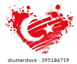 grunge flag of turkey in heart... | Shutterstock .eps vector #395186719