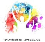 dancing people on watercolor... | Shutterstock .eps vector #395186731
