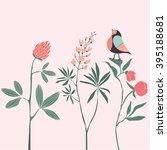 cute little bird on flowers.... | Shutterstock .eps vector #395188681