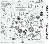 decorative black hand sketched... | Shutterstock .eps vector #395191051