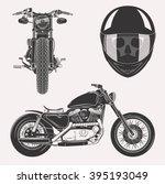 Vintage Vector Motorcycle Set...