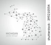 michigan outline grey vector map | Shutterstock .eps vector #395210554