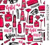 seamless makeup pattern.... | Shutterstock .eps vector #395215129
