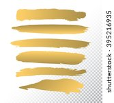 set if gold paint brushes set... | Shutterstock .eps vector #395216935