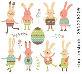 cute easter bunnies | Shutterstock .eps vector #395228209