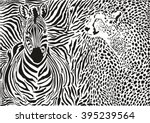 zebra and cheetah and pattern... | Shutterstock .eps vector #395239564