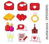 wedding icons set. pixel art.... | Shutterstock .eps vector #395243041