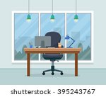 workplace in office. cabinet... | Shutterstock .eps vector #395243767