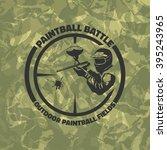 paintball logo on green... | Shutterstock .eps vector #395243965
