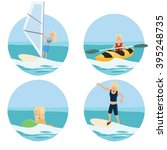 water sport set with cartoon... | Shutterstock .eps vector #395248735