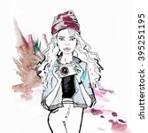watercolor fashion  portrait of ... | Shutterstock . vector #395251195